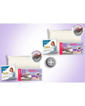 Kit 2 Travesseiros Nasa Cervical - Duoflex + 2 Capas Impermeáveis