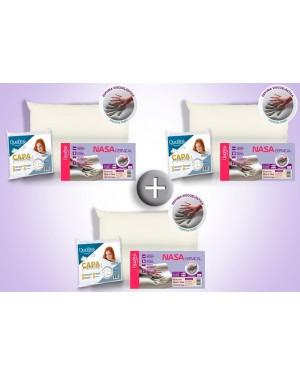 Kit 3 Travesseiros Nasa Cervical - Duoflex + 3 Capas Impermeáveis