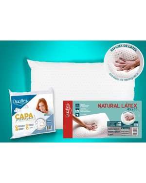 Kit 1 Travesseiro de Látex Natural 45x65cm + 1 Capa Impermeável