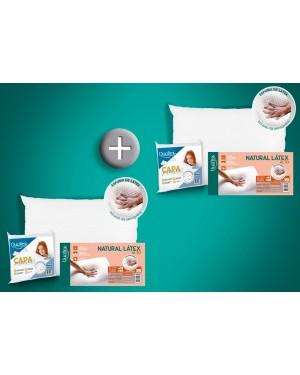 Kit 2 Travesseiros Natural Látex ALTO - Duoflex + 2 Capas Impermeáveis