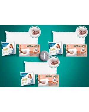 Kit 3 Travesseiros Natural Látex ALTO - Duoflex + 3 Capas Impermeáveis
