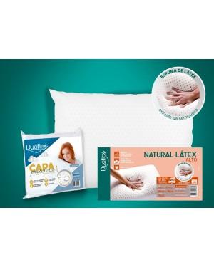 Kit 1 Travesseiro Natural Látex ALTO - Duoflex + 1 Capa Impermeável