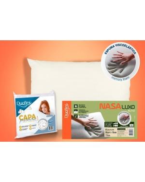 Kit 1 Travesseiros NASA Luxo Duoflex + 1 Capa Impermeável