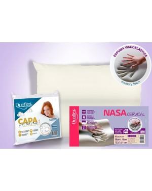Kit 1 Travesseiro Nasa Cervical - Duoflex + 1 Capa Impermeável